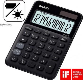 Casio Calculadora de sobremesa My Color Casio MS-20UC-BK negro, 12 dígitos, alimentación solar.