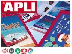 APLI Etiqueta inkjet / laser / copy adhesiva permanente A4 glossy paquete de 10 hojas