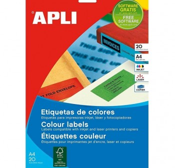 APLI Etiqueta inkjet / laser / copy permanente cantos rectos en A4