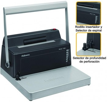 "FELLOWES Encuadernadora espiral manual METAL 100R paso 5:1"" A4"
