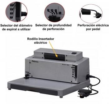 Encuadernadora eléctrica esperial metálico fellowes e 200r A4 espiral 5:1 40X40X23,5cm