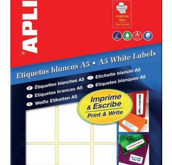 APLI Etiqueta adhesiva blanca para escritura manual doble frontal 5hojas