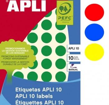 APLI Etiqueta adhesiva en color para escritura manual redondas