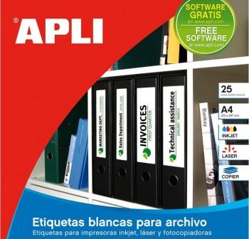 APLI Etiqueta inkjet / laser / copy adhesiva permanente a4 para archivador (lomos)