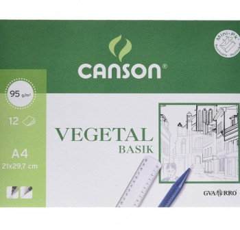Mini-pk 12 Láminas papel vegetal 90gr A4
