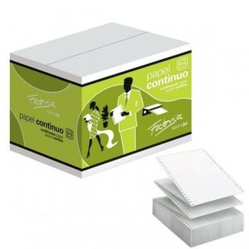 """Caja 2500h papel continuo 2 trepados 1tanto 11\""""x380mm blanco"""