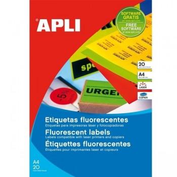 Pack 20 etiquetas fluorescentes  A4 verde