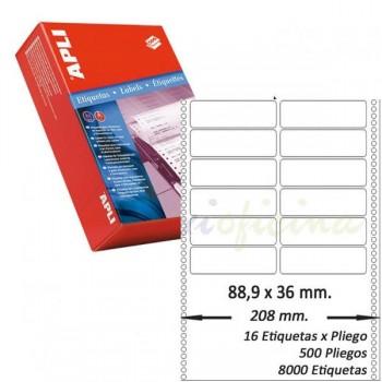 Pack 8000 etiquetas matricial 88'9x36mm salida 2 etiq