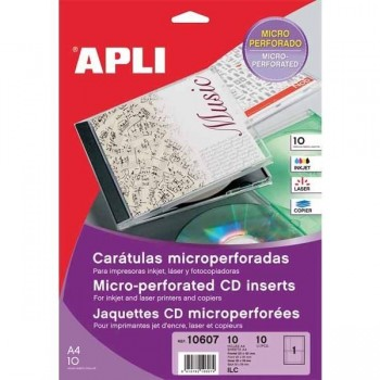 Pack 10 caratulas CD-DVD mini microperforadas