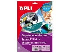 Pack 20 etiquetas especiales DVD Ink-jet