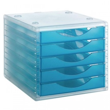 Módulo 5 cajones Archivotec azul laguna traslúcido