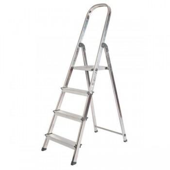 Escalera de aluminio Q-connect 4 peldaños plegable 147x46,2x86cm