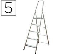 Escalera de aluminio Q-connect 5 peldaños plegable 167,5x48,3x106,2cm