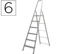 Escalera de aluminio Q-connect 6 peldaños plegable 189,5x51x120,3cm