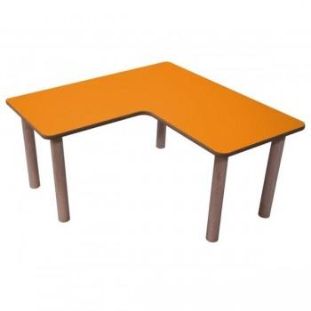 Mesa en L tapa en laminado y DM estructura y patas en madera de haya 90x45 cm