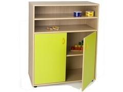 Armario 2 puertas con 2 estantes y estantería superior de 2 estantes fabricado en melamina de haya d