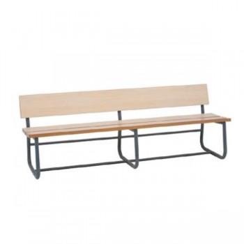Banco para pasillo con estructura metálica, asiento y respaldo de DM recubierto con laminado de alta