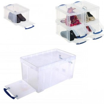 Caja almacenaje Really Useful boxes 8 l apertura frontal y superior 340x200x175 mm color cristal tra