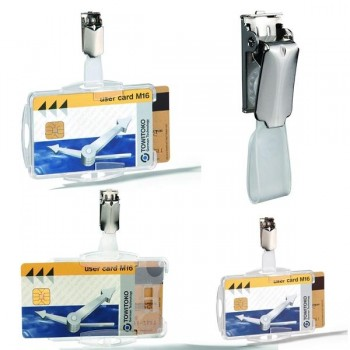 Caja 25 portanombres dobles con pinza pases seguridad 54x85mm transparente