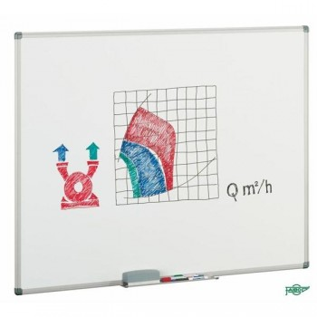 Pizarra  blanca mural Faibo estratificada marco aluminio con cajetín 45x60 cm para rotulador y papel