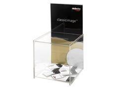 Buzón de sugerencias con trasera para folletos, transparente 213x213x386 mm
