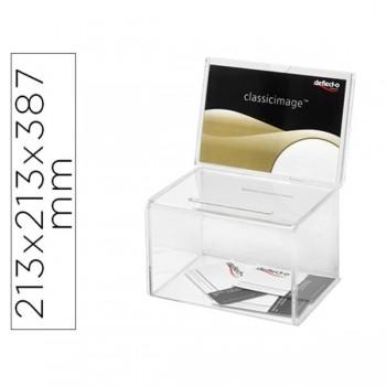 Buzón de sugerencias con trasera para folletos, transparente 213x213x387 mm