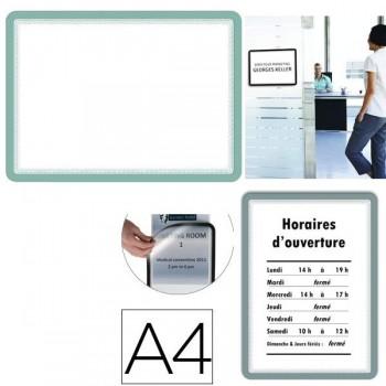 Tarifold Pack 2 marcos porta anuncios dorso adhesivo A4 plata