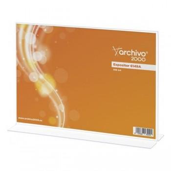"ARCHIVO2000 Expositor de sobremesa metacrilato en \""T horizontal\"" 2 caras 85x310x215mm+"