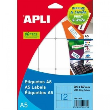 APLI Etiqueta adhesiva para inkjet / laser / copy / manual cantos romos en A-5