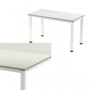 Mesa rectangular serie Executive 180x80x72-77cm. blanco/gris