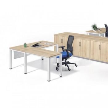 Ala mesa para serie Executive 100x60x72-77 cm blanco/haya