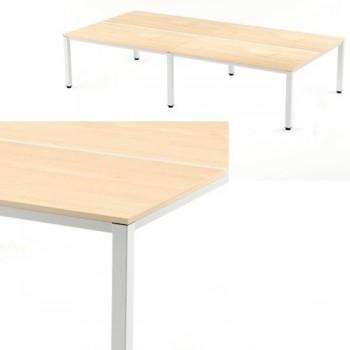 Mesa reunión 360x163x72-77cm. blanco/haya