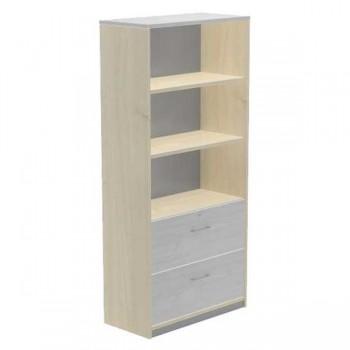 Armario carpetero 2 estantes + 2 cajones archivo 90x195x45cm. haya/gris