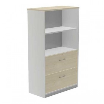 Armario carpetero 1 estante + 2 cajones archivo 90x156x45cm. aluminio/haya