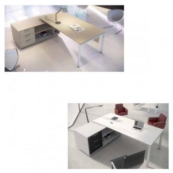 Extensión para mesa rectangular serie New Pano estructura melamina color blanco encimera roble 180x8