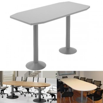 Mesa reunión pie peana 50cm, 220x100x72cm blanco-blanco