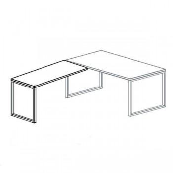 Ala de 60cm para mesa rectangular serie Oxygen estructura metálica blanca encimera roble 95x60x74cm.
