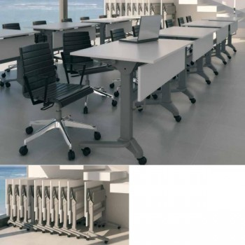 Mesa plegable estructura color aluminio encimera roble 120x60x75cm