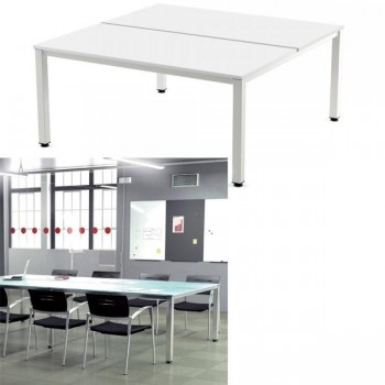Mesa doble rectangular 320x163x72-77cm. aluminio/blanco