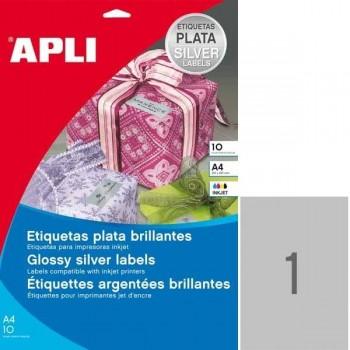APLI Etiqueta l/c metalizada plata cantos romos