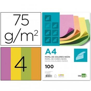 LIDERPAPEL Papel colores A4 100hojas 4 colores neon 75gr.