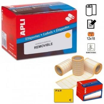 APLI Etiqueta adhesiva en rollo PVP fluor naranja 18x12mm