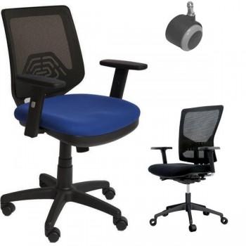 ROCADA Silla Eros con brazos respaldo malla negra asiento color azul