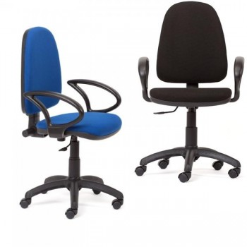 Silla de oficina Single contacto permanente con brazos tapizado 1 color azul