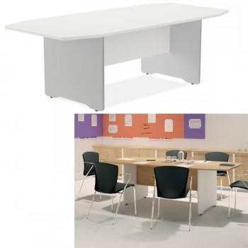 Mesa de reuniones pie columna 220x100x72 aluminio/blanco