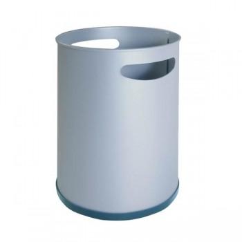 Papelera metálica Cilindro con dos asas diámetro 21,5cm plata