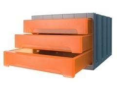 Módulo 3 cajones medianos archivotec 370X305x215mm gris/naranja traslúcido