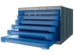Módulo 6 cajones pequeños archivotec 370X305x215mm azul traslúcido