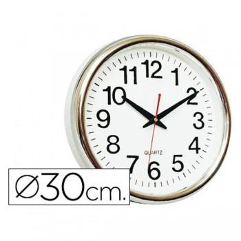 Reloj pared redondo base blanca marco cromado 30cm