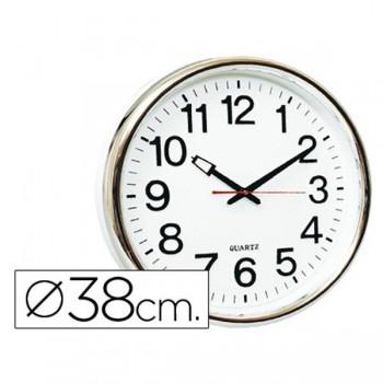 Reloj pared redondo base blanca marco cromado 38cm